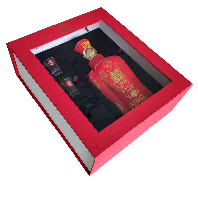 Cotton Handles Luxury Red Soft Touch Paper Wine Box